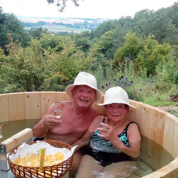 pic soaking Wood Fired Hot Tub